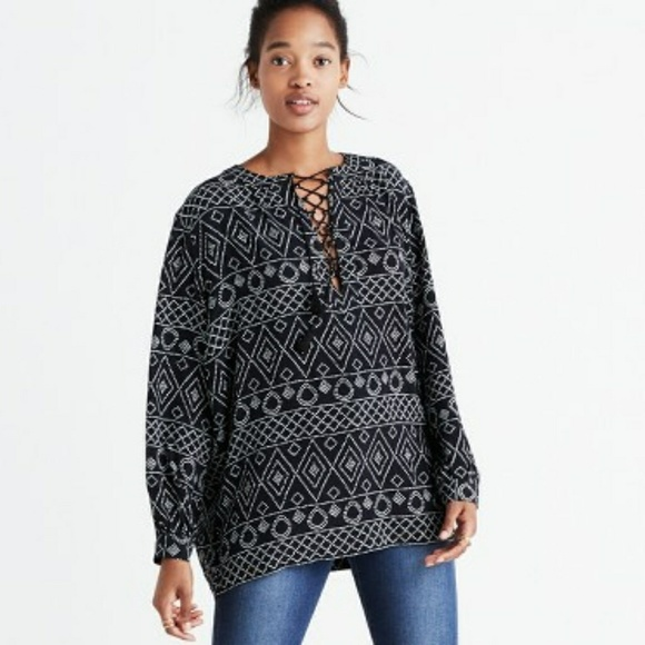 Madewell Tops - Madewell Lace-up Peasant Top in Caravan Print